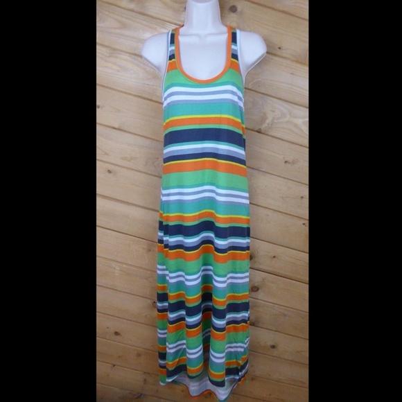 Splendid Dresses & Skirts - Splendid S Green Tripe Racerback Maxi Hi Low Dress
